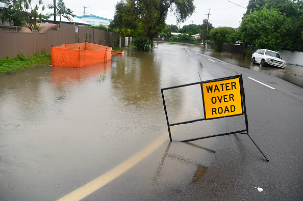 Flooded road in the  suburb of Railway Estate in Townsville, Queensland, Australia on Feb. 1, 2019. (Ian Hitchcock/Getty Images)