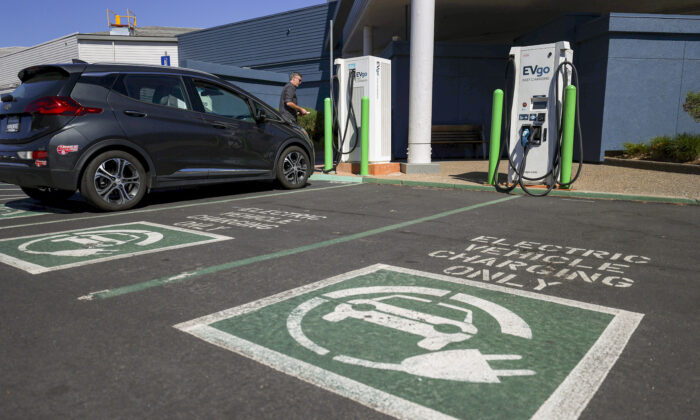 "An electric car charging station in Corte Madera, Calif., on Sept. 23, 2020. President Joe Biden's ""infrastructure"" proposal would reportedly include money for electric car charging stations. (Justin Sullivan/Getty Images)"