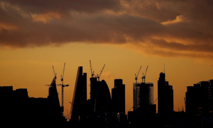 Skyscrapers at sunset in the City of London's financial district, Britain, on Feb. 12, 2018. (Simon Dawson/Reuters)