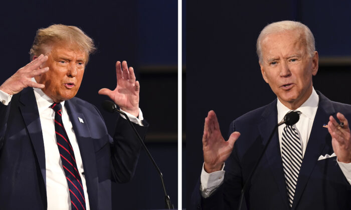 President Donald Trump, left, and former Vice President Joe Biden during the first presidential debate at Case Western University and Cleveland Clinic, in Cleveland, Ohio on Sept. 29, 2020. (Patrick Semansky/AP Photo)