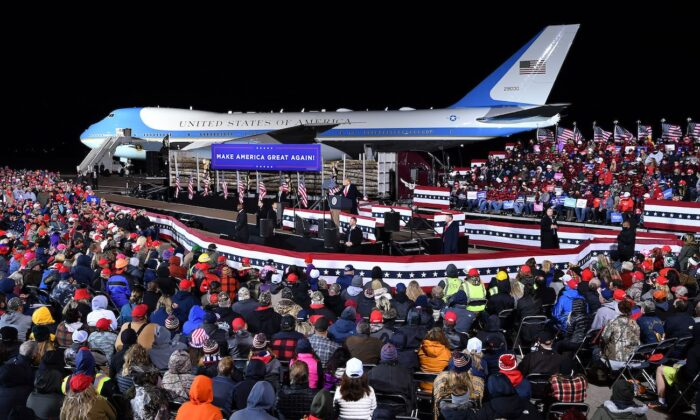 President Donald Trump speaks during a campaign rally at Duluth International Airport in Duluth, Minnesota on Sept. 30, 2020. (Mandel Ngan/AFP via Getty Images)