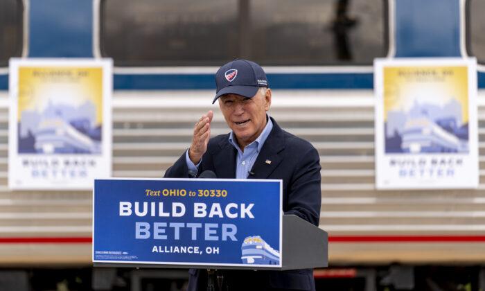 Democratic presidential nominee Joe Biden speaks at Amtrak's Alliance Train Station in Alliance, Ohio, Sept. 30, 2020. (Andrew Harnik/AP Photo)