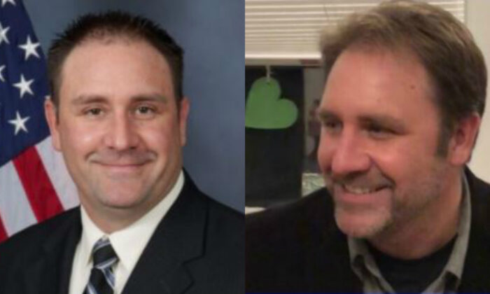 Louisville Detective Myles Cosgrove in two file photographs. (Louisiville Metro Police Department and Safety and security of Detective Myles Cosgrove/GiveSendGo)