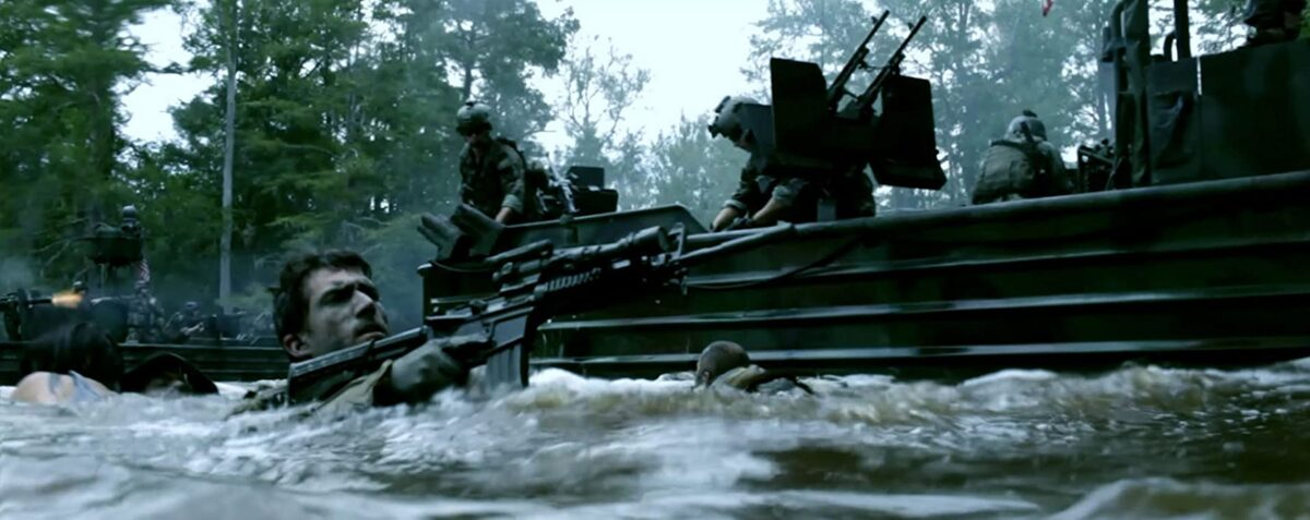 """Navy SEAL in water near boat shooting gun in """"Act of Valor"""""""