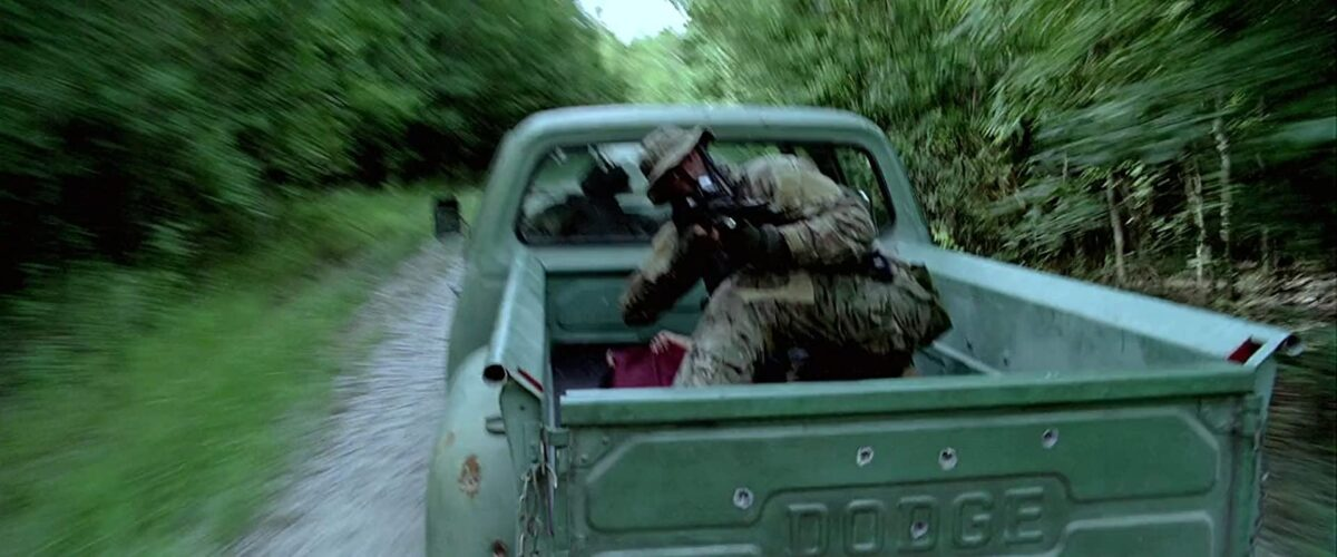 """SEAL in pick-up truck firing rifle in """"Act of Valor"""""""