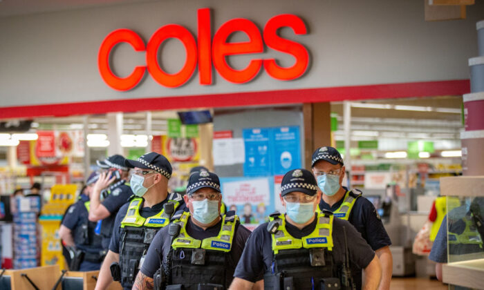 Members of Victoria Police patrol through Chadstone Shopping Centre on September 20, 2020 in Melbourne, Australia. (Darrian Traynor/Getty Images)