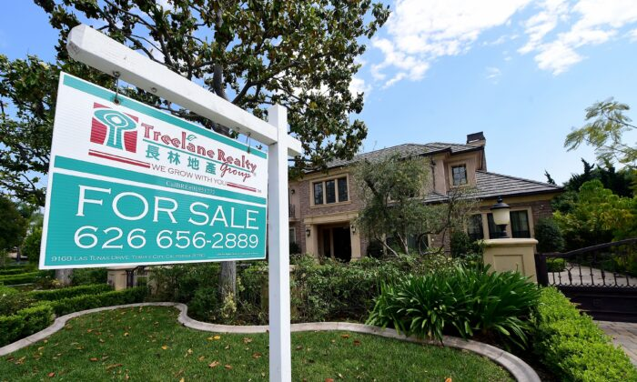 A property estimated at a little over $6 million sits for sale in Arcadia, Calif., in this file photo. According to Standard & Poor's, single family home prices in the Los Angeles metro area in July 2020 were 5.34 percent higher than a year earlier in July 2019. (FREDERIC J. BROWN/AFP via Getty Images)