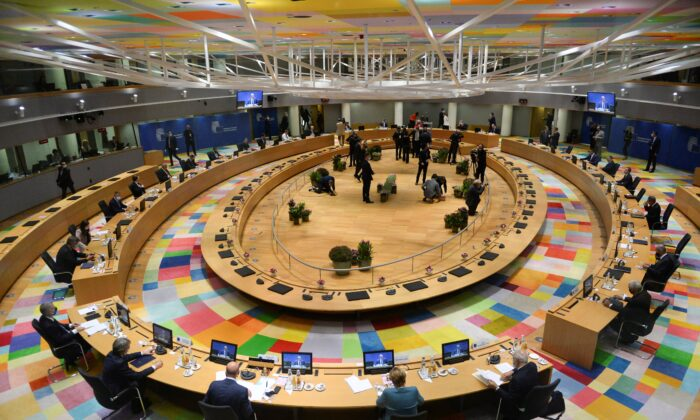 General view taken ahead of an EU summit at the European Council building in Brussels, on Oct. 1, 2020. (Johanna Geron/POOL/AFP via Getty Images)