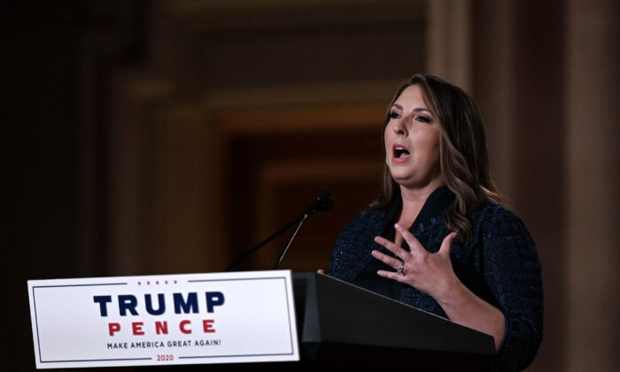 Republican National Committee Chair Ronna McDaniel speaks during the Republican National Convention at the Mellon auditorium in Washington on Aug. 24, 2020. (Olivier Douliery/AFP via Getty Images)