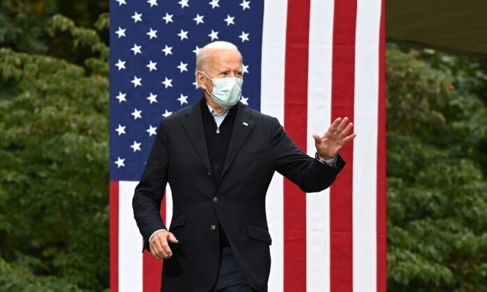 Democratic presidential nominee and former Vice President Joe Biden arrives to speak at a campaign event at United Food and Commercial Workers Union Local 951 in Grand Rapids, Mich., on Oct. 2, 2020. (Jim Watson/AFP via Getty Images)
