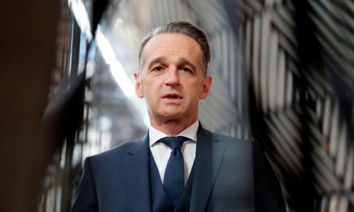 German Minister of Foreign Affairs Heiko Maas speaks to the press during a foreign ministers affairs council in Brussels, on Sept. 21, 2020. (Olivier Hoslet/Pool/AFP via Getty Images)