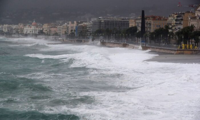 Waves hit the shore as storm Alex reaches the French riviera's coasts near the Promenade des Anglais in Nice, on Oct. 2, 2020. (Valery Hache/AFP via Getty Images)