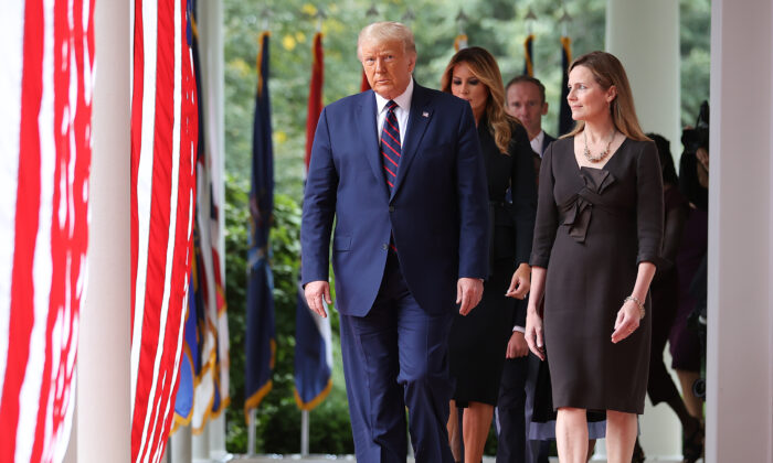 President Donald Trump arrives to introduce Judge Amy Coney Barrett as his nominee to the Supreme Court in the Rose Garden at the White House on Sept. 26, 2020. (Chip Somodevilla/Getty Images)