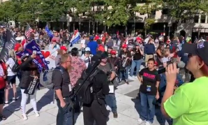 In this still image from video, President Donald Trump supporters rally in Washington on Oct. 3, 2020. (Kevin Hogan/NTD Television)