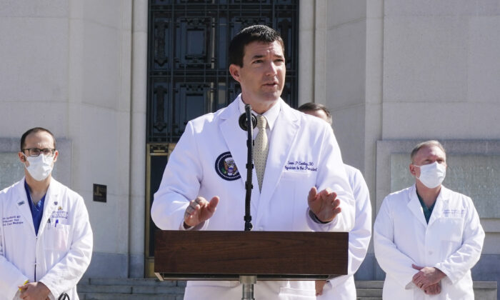 Dr. Sean Conley, physician to President Donald Trump, briefs reporters at Walter Reed National Military Medical Center in Bethesda, Md., on Oct. 4, 2020. (Jacquelyn Martin/AP Photo)