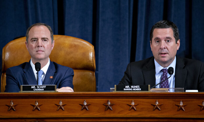 Rep. Devin Nunes, a Republican from California and ranking member of the House Intelligence Committee, right, makes a closing statement as committee Chairman Adam Schiff, a Democrat from California, listens during an impeachment inquiry hearing on Capitol Hill in Washington on Nov. 21, 2019. (Andrew Harrer-Pool/Getty Images)