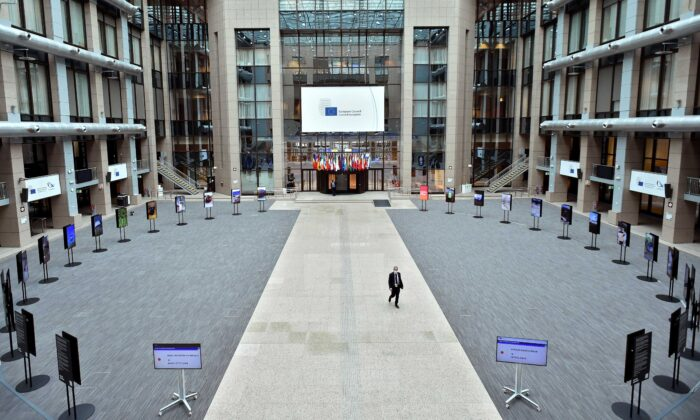 This general view shows a partially deserted media area on the first day of a European Union (EU) summit at The European Council Building in Brussels on Oct. 1, 2020. (John Thys/AFP via Getty Images)