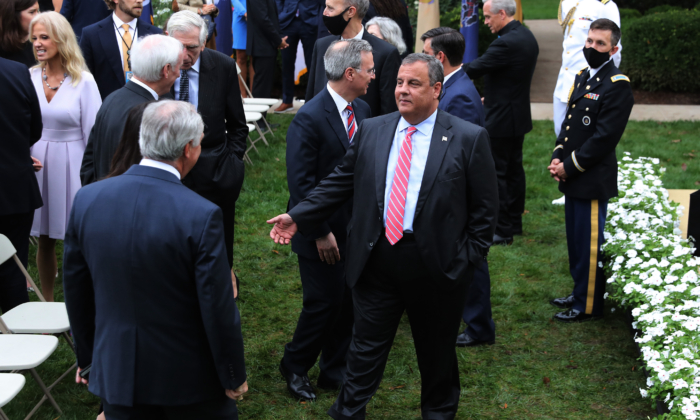 Former New Jersey Governor Chris Christie (C) talks with guests in the Rose Garden after President Donald Trump introduced 7th U.S. Circuit Court Judge Amy Coney Barrett, 48, as his nominee to the Supreme Court at the White House on Sept. 26, 2020. (Chip Somodevilla/Getty Images)