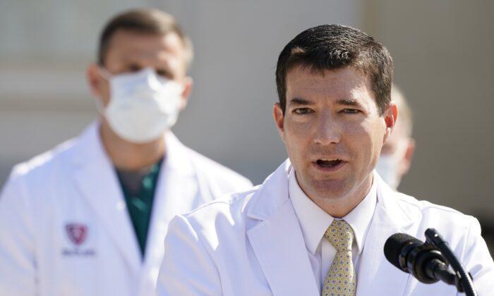 Dr. Sean Conley, physician to President Donald Trump, briefs reporters at Walter Reed National Military Medical Center in Bethesda, Md., Oct. 4, 2020. (Jacquelyn Martin/AP Photo)