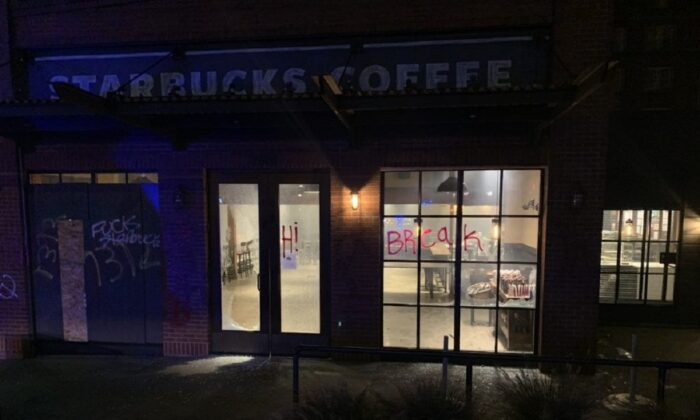 A Starbucks location in Seattle was damaged during a riot in Seattle on Oct. 3, 2020. (Seattle Police Department)