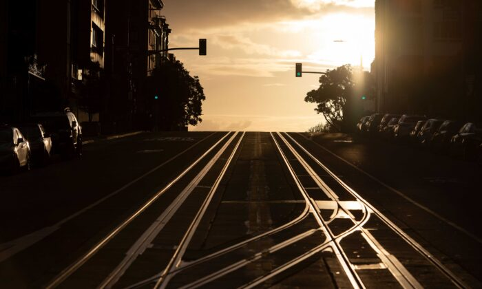 California Street, usually filled with cable cars, is seen empty in San Francisco, Calif., on March 18, 2020. (Josh Edelso//AFP via Getty Images)