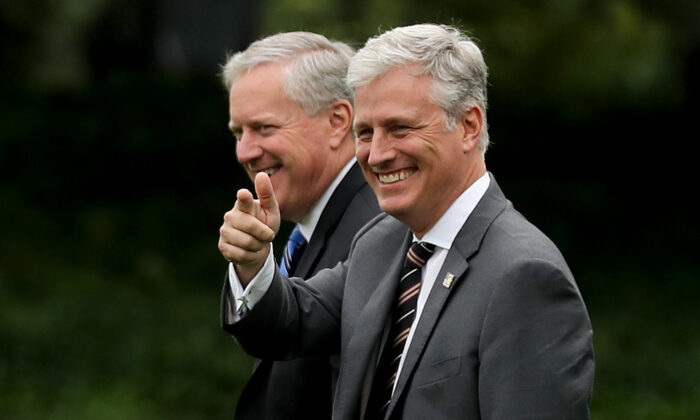White House Chief of Staff Mark Meadows (L) and National Security Advisor Robert O'Brien walk across the South Lawn while departing the White House in Washington on Sept. 24, 2020. (Chip Somodevilla/Getty Images)