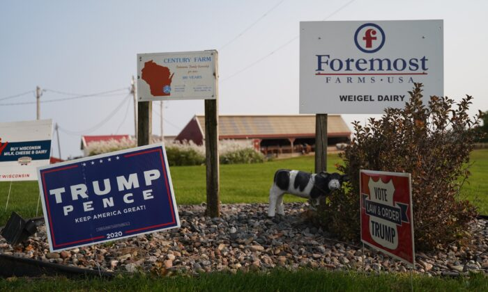 A Trump sign on a property in Platteville, Wis., on Sept. 21, 2020. (Cara Ding/The Epoch Times)