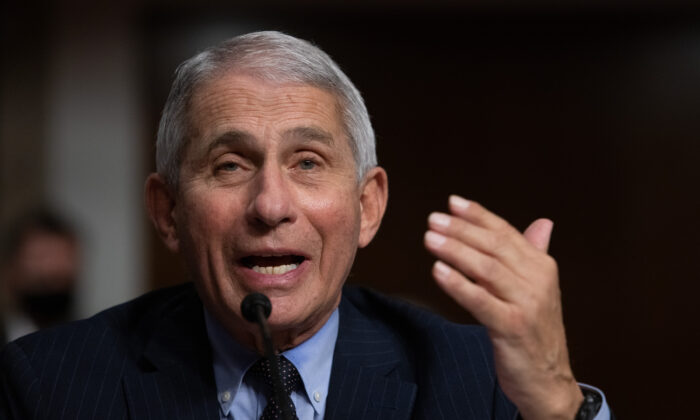 Dr. Anthony Fauci speaks before Congress in Washington on Sept. 23, 2020. (Graeme Jennings/Pool/AFP via Getty Images)