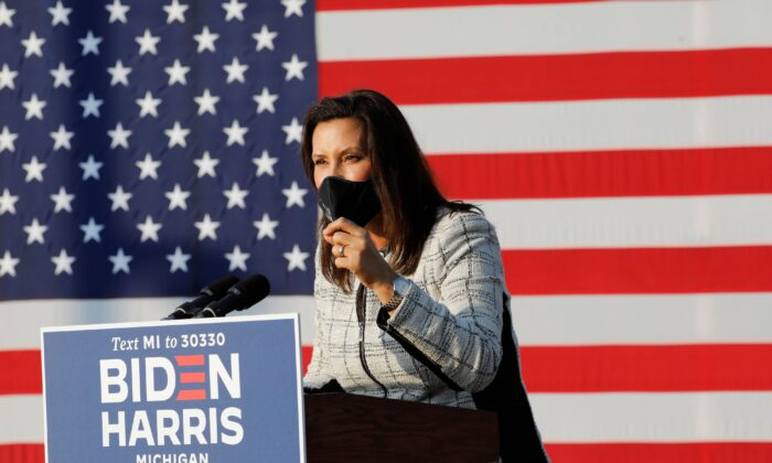 Michigan Gov. Gretchen Whitmer speaks before Democratic vice presidential nominee Kamala Harris at the Detroit Pistons Practice Facility in Detroit, Mich., on Sept. 22, 2020. (Jeff Kowalsky/AFP via Getty Images)