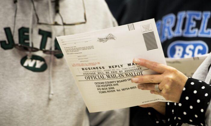 A mail-in ballot in Toms River, N.J., on Nov. 5, 2012. (Paul J. Richards/AFP via Getty Images)