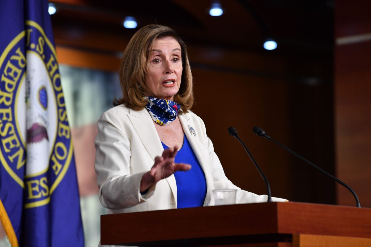 Speaker of the House Nancy Pelosi (D-Calif.) holds her weekly press briefing