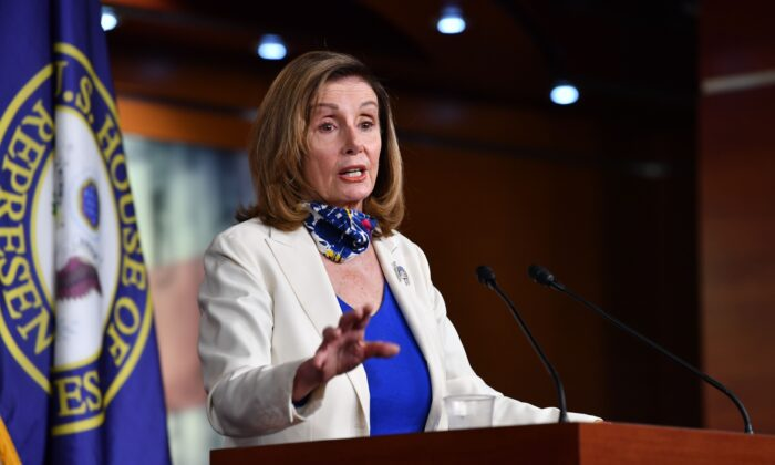 House Speaker Nancy Pelosi (D-Calif.) holds her weekly press briefing on Capitol Hill in Washington on Oct. 1, 2020. (Nicholas Kamm/AFP via Getty Images)
