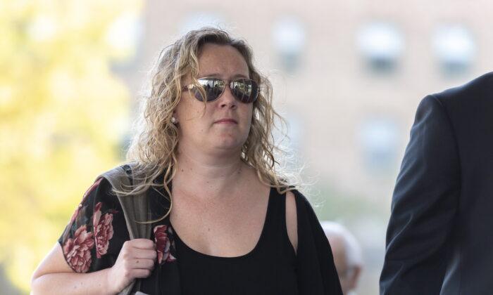 Carolyn Strom, left, arrives at the Court of Appeal for Saskatchewan in Regina, Saskatchewan on September 17, 2019. Strom was found guilty of professional misconduct by the Saskatchewan Registered Nurses Association in 2016 and handed the financial penalty. That ruling was reversed on Oct. 6, 2020. (THE CANADIAN PRESS/Michael Bell)