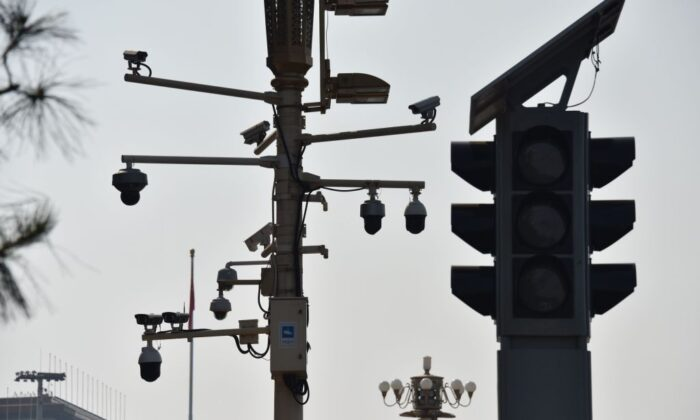 Surveillance cameras are seen on a corner of Tiananmen Square in Beijing on Sept. 6, 2019. (Greg Baker/AFP via Getty Images)