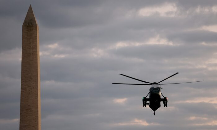 U.S. Marine One returns President Donald Trump to the White House from Walter Reed National Military Medical Center on October 05, 2020, in Washington, DC. Trump spent three days hospitalized for coronavirus. (Photo by Win McNamee/Getty Images)