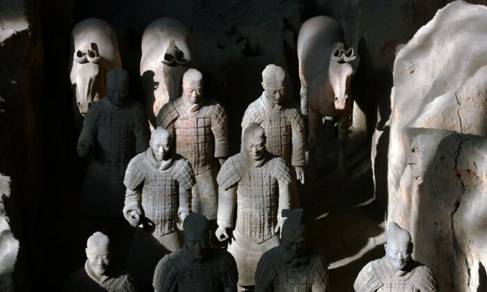 Ancient terracotta soldiers and horses are seen in the No.1 pit of the Qin Terracotta Warriors and Horses Museum in Lintong of Shaanxi Province, China, on October 24, 2007. (China Photos/Getty Images)