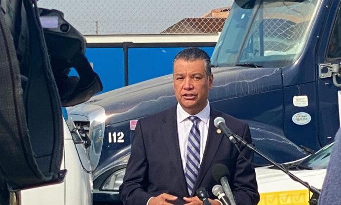 California Secretary of State Alex Padilla speaks at a press conference about election integrity in Santa Ana, Calif., on Oct. 5, 2020. (Jamie Joseph/The Epoch Times)
