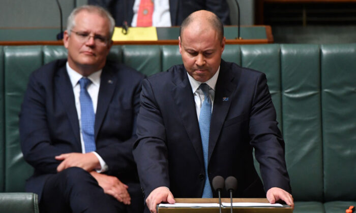 Treasurer Josh Frydenberg during the budget delivery in the House of Representatives on October 6, 2020 in Canberra, Australia. (Sam Mooy/Getty Images)