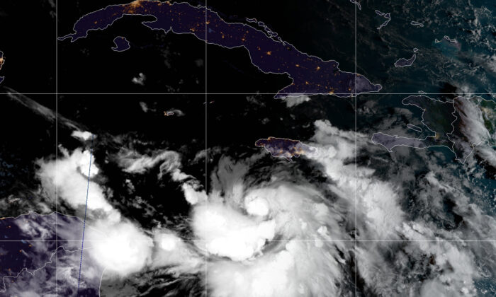 Tropical Storm Delta moving toward the Gulf of Mexico, on Oct. 5, 2020. (NOAA/via Reuters)