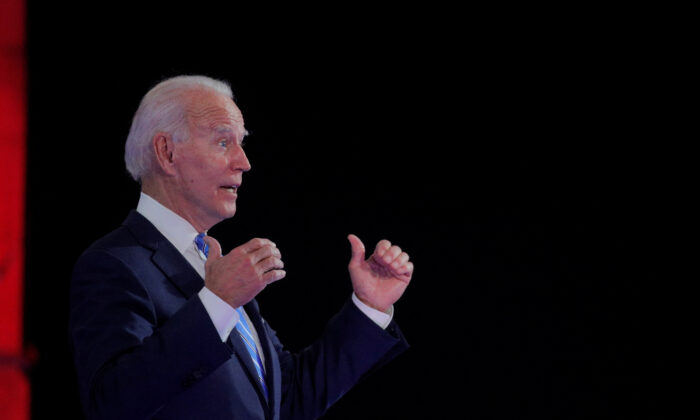 Democratic presidential nominee Joe Biden gestures as he speaks during a town hall while campaigning for president in Miami, Fla., on Oct. 5, 2020. (Brendan McDermid/Reuters)