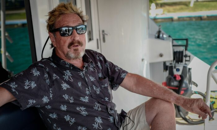 U.S. millionaire John McAfee gestures during an interview with AFP on his yacht anchored at the Marina Hemingway in Havana, on June 26, 2019. (Adalberto Roque/AFP via Getty Images)