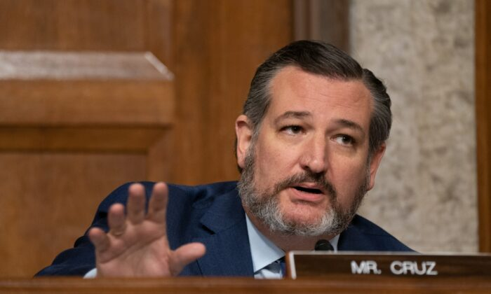 Sen. Ted Cruz (R-Texas) speaks during a hearing of the Senate Judiciary Committee in Washington on Sept. 30, 2020. (Ken Cedeno/Pool/Getty Images)