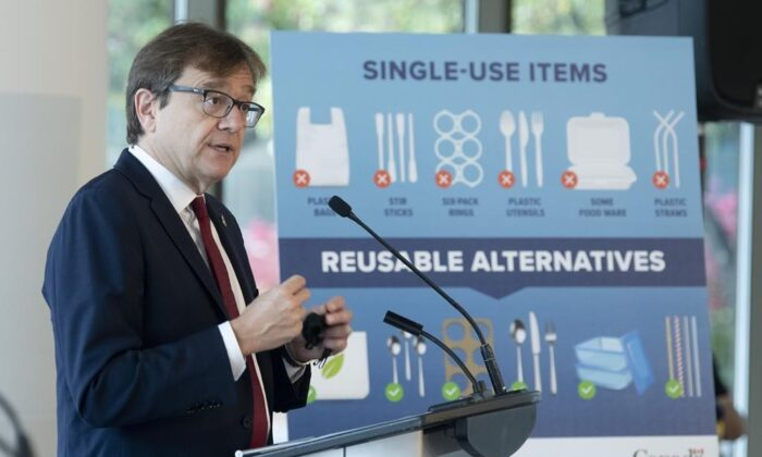 Environment and Climate Change Minister Jonathan Wilkinson speaks during a news conference announcing the ban of specific plastic products on Oct. 7, 2020 in Gatineau. (Adrian Wyld/The Canadian Press)