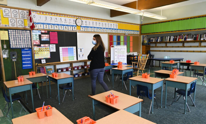 Grade two teacher Vivian Mavraidis walks through her classroom at Hunter's Glen Junior Public School which is part of the Toronto District School Board (TDSB) during the COVID-19 pandemic in Scarborough, Ont., Canada on Sept. 14, 2020. (Nathan Denette/The Canadian Press)