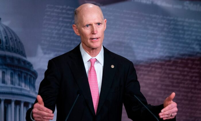 Sen. Rick Scott (R-Fla.) speaks during a press conference at the US Capitol in Washington on March 25, 2020. (Alex Edelman/AFP via Getty Images)