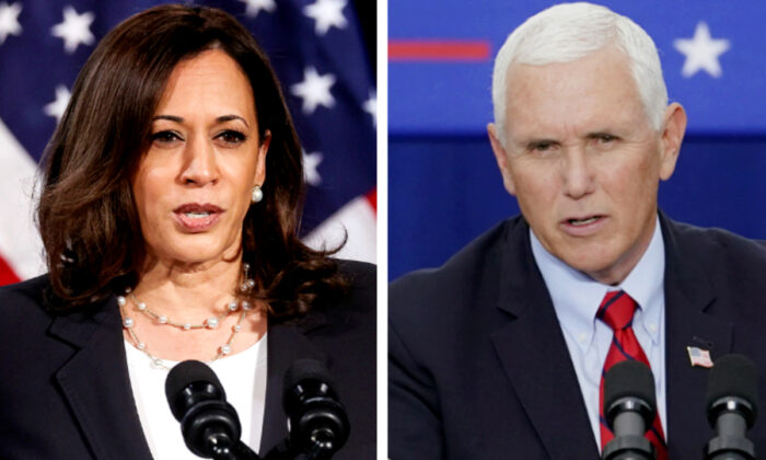 Democratic vice presidential nominee Kamala Harris (L) delivers a campaign speech in Washington on Aug. 27, 2020. (Jonathan Ernst/Reuters); Vice President Mike Pence (R) speaks at a campaign event in Exeter, Pa., on Sept. 1, 2020. (John Minchillo/AP Photo)