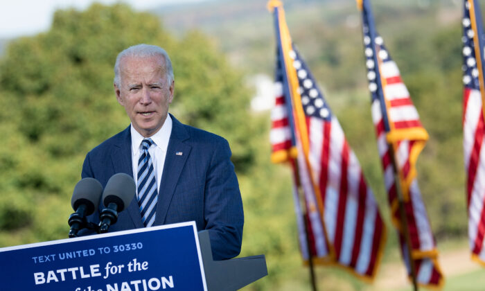 Democratic presidential candidate Joe Biden speaks at the Lodges at Gettysburg, Penn., on Oct. 6, 2020. (Brendan Smialowski/AFP via Getty Images)