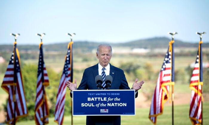 Democratic presidential candidate Joe Biden speaks at the Lodges at Gettysburg in Gettysburg, Penn., on Oct. 6, 2020. (Brendan Smialowski/AFP via Getty Images)