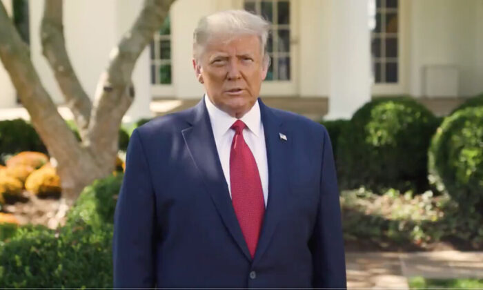 President Donald Trump speaks from the Rose Garden at the White House in Washington, Oct. 7, 2020, in this still image from video posted on Trump's Twitter page. (@realDonaldTrump)