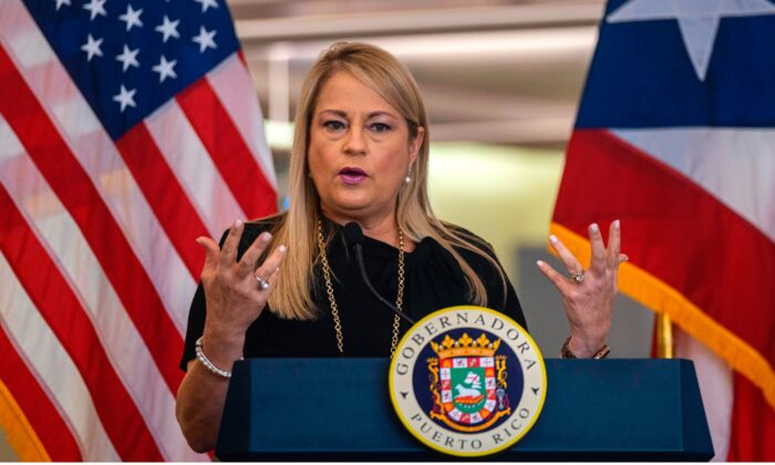 Puerto Rico Gov. Wanda Vázquez Garced speaks during a press conference to announce the strict new rules for all passengers flying into Puerto Rico to curb CCP virus cases in San Juan, Puerto Rico, on June 30, 2020. (Ricardo Arduengo/AFP via Getty Images)